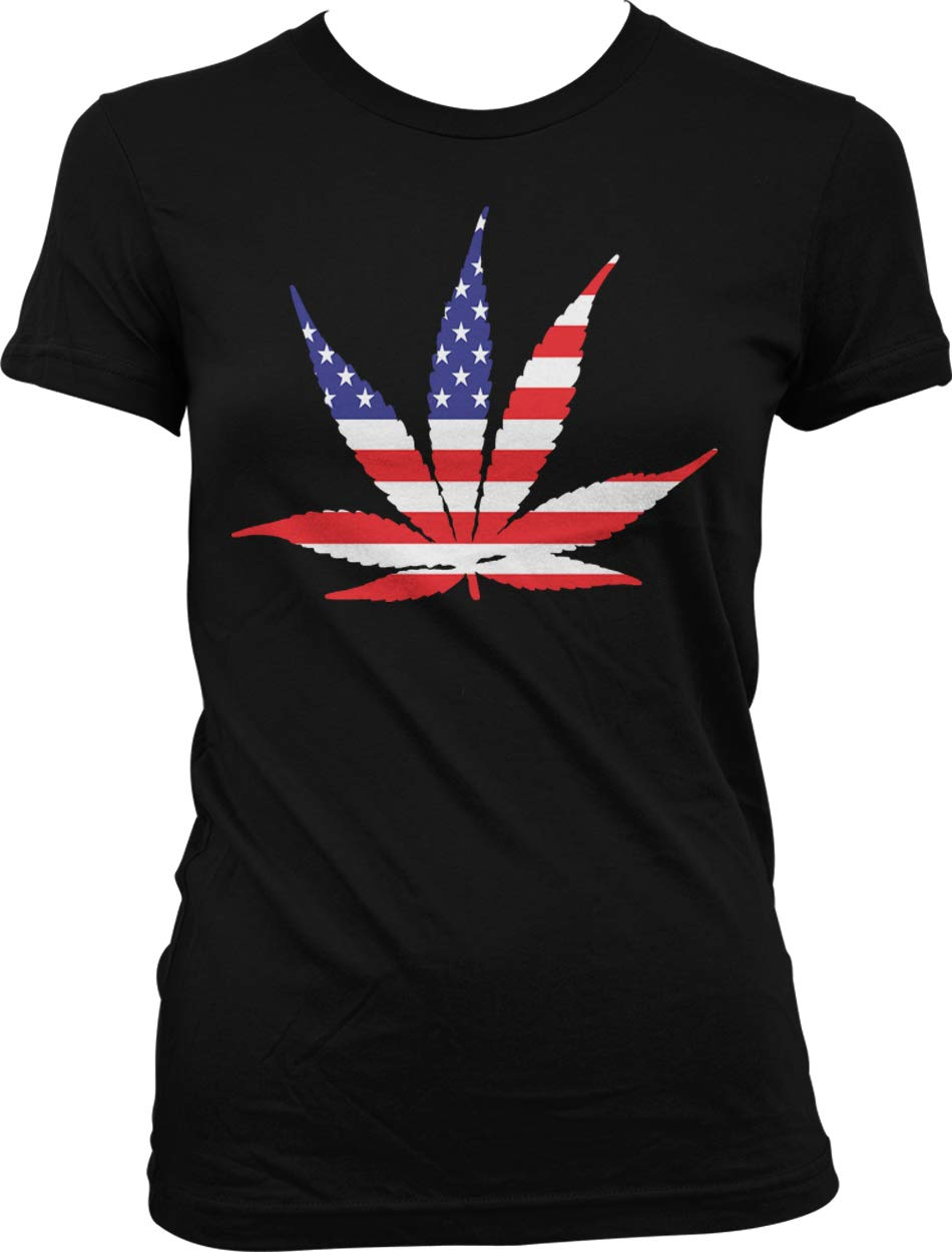 Hoodteez American Flag Pot Leaf, USA Weed, Marijuana Juniors T-Shirt