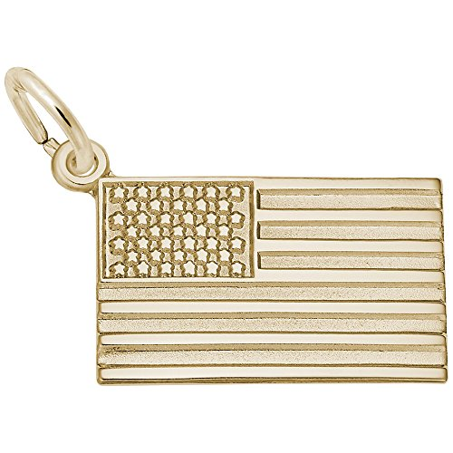 Gold American Flag Charm (American Flag Charm In 14k Yellow Gold, Charms for Bracelets and Necklaces)