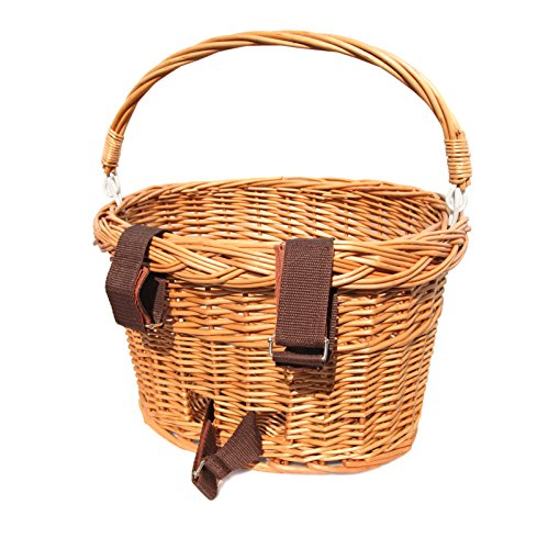 Colorbasket Adult Front Handlebar Wicker Bike Basket with Handle, 3 Velcro Straps