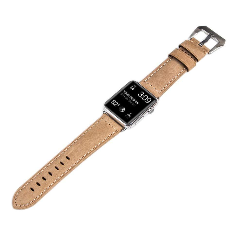 CoverKingz läderarmband för Apple Watch Series 4/3/2/1, läderarmband för 42 mm/44 mm, rostfritt stål fjäril hopfällbar, läderband svart, svart Retro beige