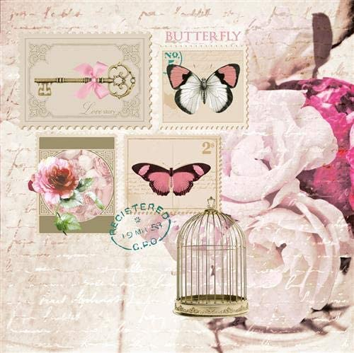 20 Napkins Vintage Stamps with Butterflies//Rose//Flowers//Spring//Summer 33 x 33 cm