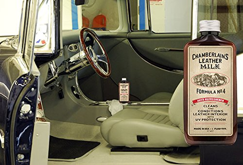 Leather Milk Auto Leather Cleaner & Conditioner Kit (2 Formula Car Detailing Set) - Straight Cleaner No. 2 + Auto Refreshener No. 4 - All Natural, Non-Toxic. Made in USA. Includes 2 Detailing Pads! by Chamberlain's Leather Milk (Image #3)