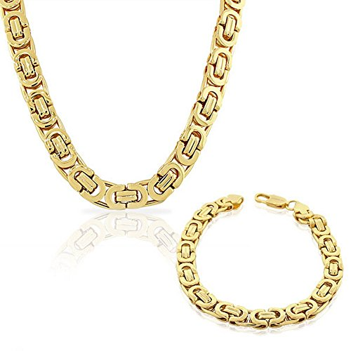 My Daily Styles Stainless Steel Yellow Gold-Tone Mens Link Chain Necklace and Bracelet Set