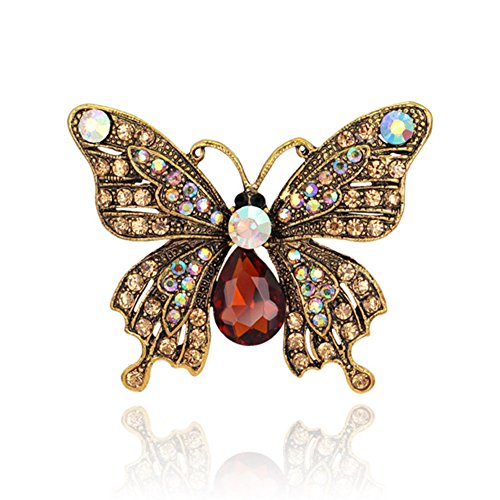 Butterfly Ruby Brooch (Dwcly Vintage Crystal Butterfly Sparkling Rhinestone Brooch Pin Delicate Insect Jewelry)