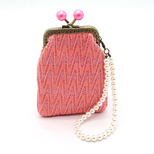 Flower Change Purse (Change Purse, Franterd Women Retro Coin Purse - Small Wallet, Girl Vintage Flower Hasp Clutch Bag (Pink))