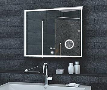 Spiegel mit beleuchtung und uhr  Fineline Badezimmer Spiegel LED Beleuchtung 192 LED und 50 LED für ...