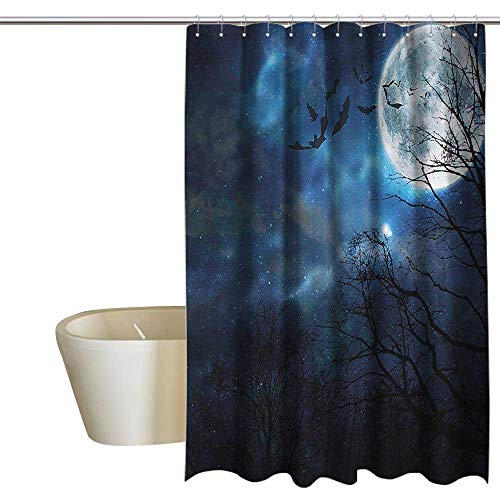 Denruny Shower Curtains for Bathroom Beach Halloween,Bats Flying in Night Sky,W72 x L84,Shower Curtain for Bathroom -