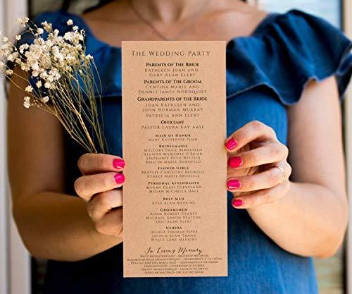 CUSTOM Wedding Program Rustic Ceremony Wedding Program Order of Service Program Burlap Wedding Program Kraft Program