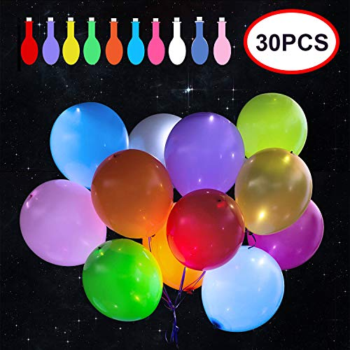 Reliancer 30 Pack LED Balloons 10 Colors Light Up Balloons Flashing Party Night Lights Lasts 12-24 Hours for Glow in the Dark Parties Birthday Wedding Decorations Halloween Christmas Festival Club Bar Concert]()