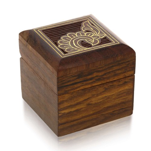 Carved Wood Trinket (Wooden Box for Jewelry Indian - Wood Trinket Box - Perfect for Rings, Earrings, Toe Rings & Cuff Links)