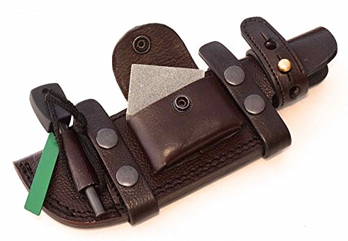 CFK Cutlery Company USA Handcrafted RIGHT HAND SCOUT / LEFT HAND CROSS DRAW Brown Horizontal Tactical Tracker Hunter Sheath  Wet Stone  Fire Starter…