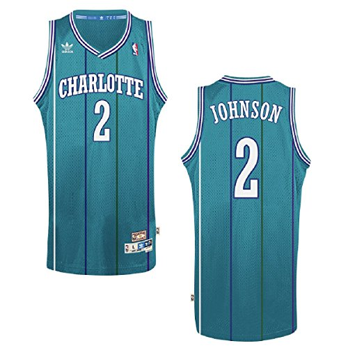 - adidas Charlotte Hornets #2 Larry Johnson NBA Soul Swingman Jersey, Teal, Size: Small