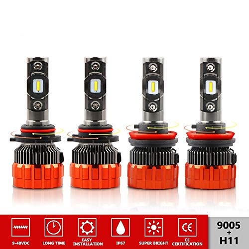 MOSTPLUS 8000 Lumens 80W/Pair-9005+H11 All-in-One LED-TX1860 Chip Really Focused Headlight Bulbs Super Mini Conversion Kit Xenon White Three Years Warranty (2 Pairs) ()