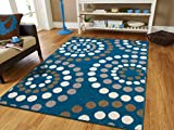 Cheap New Fashion Large 8×11 Abstract Soft Rugs For Living Room Blue Rugs 8×10 Area Rugs Clearance Rugs with Circles Dots Rugs Blues Cream Brown Gray Modern Rugs, 8×11 Size Rugs