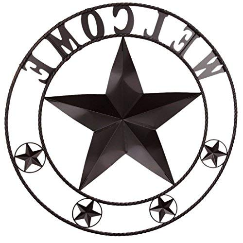 EBEI 31.5'' Large Metal Barn Star Western Home Wall Decor Vintage Circle Dark Brown Texas Lone Star with Letters Welcome by EBEI