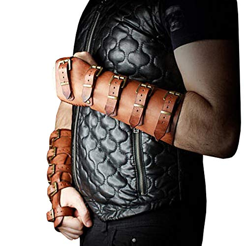 Syktkmx Faux Leather Gauntlet Wristband Bracer Arm Armor Cuff Punk Gothic Medieval Costume Vambraces ()