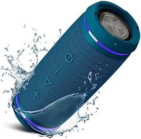 TREBLAB HD77 BLUE – PREMIUM BLUETOOTH PORTABLE SPEAKER – 360° HD SURROUND SOUND – WIRELESS DUAL PAIRING – 25W OF STEREO SOUND – DUALBASS TECHNOLOGY – IPX6 WATERPROOF DESIGN WITH UP TO 20H OF RUN TIME