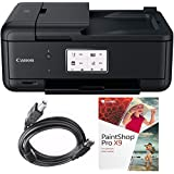 Canon PIXMA TR8520 Wireless Home Office All-in-One Printer with General High Speed 6-foot USB Printer Cable & Corel Paint Shot Pro X9 (Black)