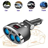 Magic 3 Socket Cigarette Lighter with Switch and Car Battery Display, 120w DC Outlet Car Splitter with 12V-24V 3.4A Dual USB Car Charger for Car Camera, GPS, Car TV, iPhone iPad, Android, etc