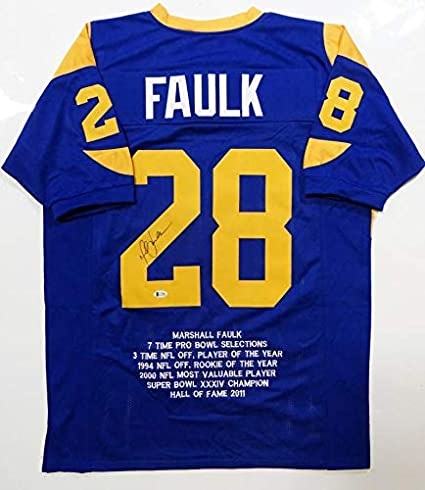 low cost 581bf 80b9b Marshall Faulk Signed Jersey - Blue Pro Style STAT Beckett ...