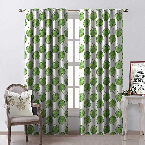 Hengshu Geranium Waterproof Window Curtain Watercolor Flower Leaves Clover Saint Patrick Day Herbal Botanical Rock Decorative Curtains for Living Room W84 x L96 Fern Green ()