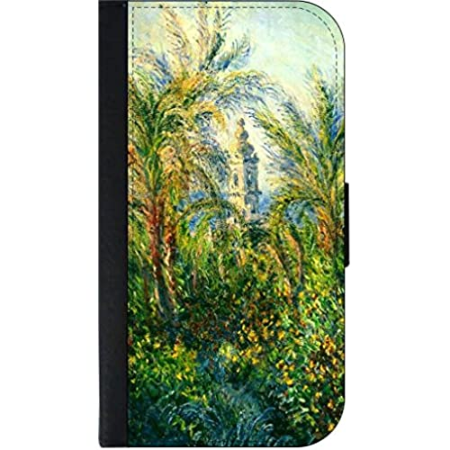 Claude Monet's Garden in Bordighera -SAMSUNG GALAXY S7 EDGE-(Not the Standard s7) Wallet Case with Flip Cover and Magnetic Clasp-Leather-Look Sales