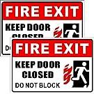 "Outdoor/Indoor (2 Pack) 9"" X 6"" - Fire Exit, Keep Door Closed, Do Not Block - Warning Caution Door Sign Back Adhesive Vinyl Label Sticker - for Home, Business Store, Shop, Cafe, Office, Restaurant etc"