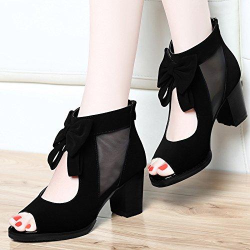 Neto High Sandalias Heeled EU40 Gruesos Zapatos Pescado Hilados Boca Mujer Con Ue36 De Con SHOESHAOGE ZxqafzOwa