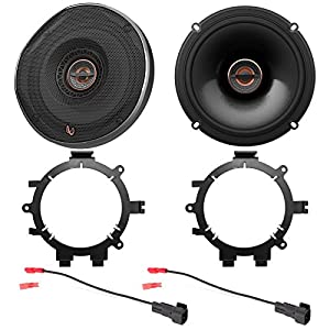 "2x Infinity REF Reference Series Shallow-Mount 6.5"" 330 Watt Coaxial Car Speakers with Enrock Speaker Mounting Brackets and Wire Harness for Select 1996-2009 GM Full Size SUV Car Vehicles"