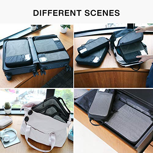BAGSMART Packing Cubes Compression 3 Sizes Travel Luggage Organizer for Carry-on Suitcase (compression-4 pcs set-black)