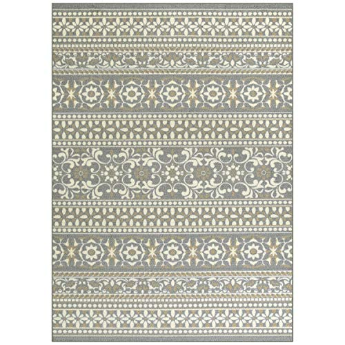 Maples Rugs Area Zoe 7 x 10 Non Slip Large Rug [Made in USA] for Living, Bedroom, and Dining Room, Grey