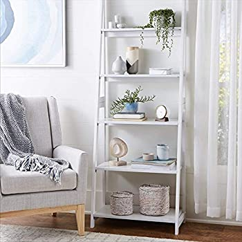 PJ Wood 5 Tier A-Frame Ladder Shelf - White