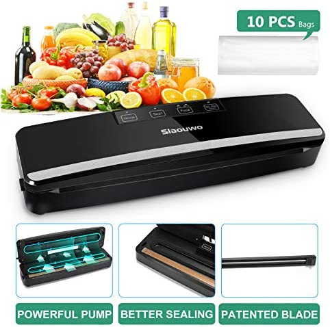Slaouwo Vacuum Sealer Automatic Food Sealer Machine with Dry Moist Modes, Led Indicator Light, Hose, Bags and Rolls Starter Kits Compact Design for Food Save