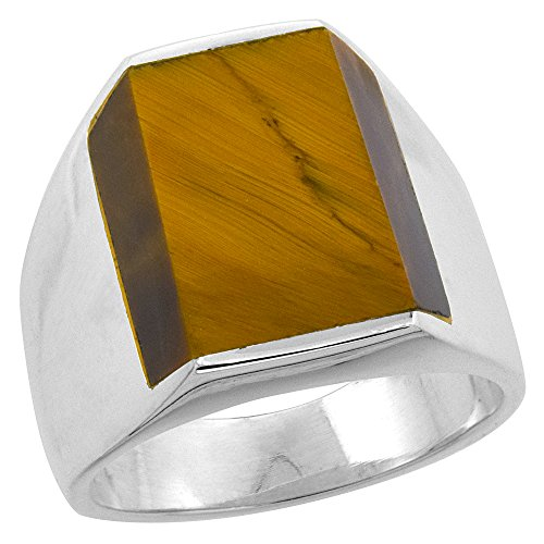 Sterling Silver Tiger Eye Ring for Men Rectangular Flat Solid Back Handmade, size 9