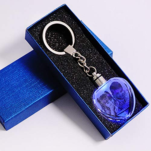 Picture Frame - Customized Souvenirs Gift Decoration Heart Shape K9 Crystal Photos Frame Laser Engrave for Lover Baby Kids Glass Crafts Keychain