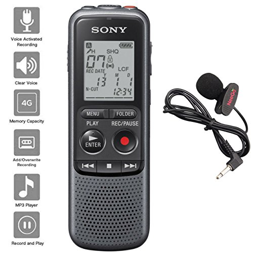 Sony Digital Voice Recorder ICD-PX Series, with Built-in Mic and USB, 4GB Memory, Noise Cut for Noise-Free Recordings, Includes A NeeGo Lavalier Lapel Mic (Voice Recorder Speech To Text)