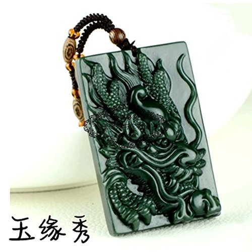Black Jade Pendant - Xinjiang natural black jade and nephrite jade necklace pendant ward off evil men domineering dragon brand jade dragon necklace pendant Zodiac