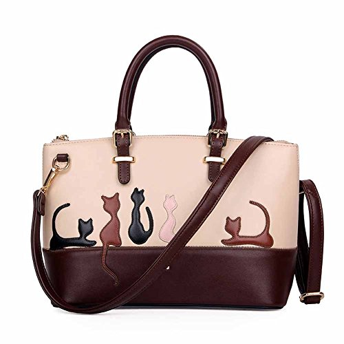 Pattern Bag Cat Large Capacity Pu Cat Women Cartoon Handbag Nawoshow Fashion Leather Bag wx7X8ARqA