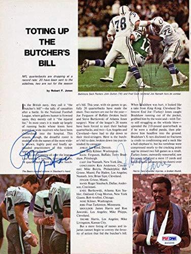 Roger Staubach, Joe Namath & James Harris Autographed Magazine Page Photo #S43200 PSA/DNA Certified