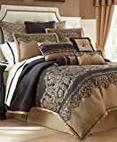 """Waterford Bannon European sham, 26"""" X 26"""". Sham features jacquard inspired detail with black medallion print on gold background with a black flange."""