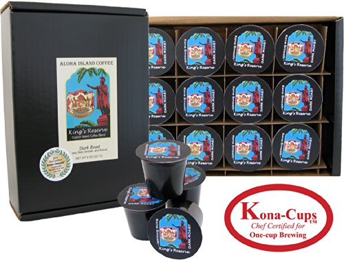 12 Kone-One-Cups of Dark Roast, Kona Smooth Kings Reserve Kona Hawaiian Blend Coffee, for Keurig K-cup Brewing Systems
