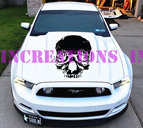 Skull Rose Tatoo Tribal Ford Mustang Racing Hood Stripes Decals Shelby Convertible Sticker Will Fit Any Car Universal Nissan Honda Racing (Silver)