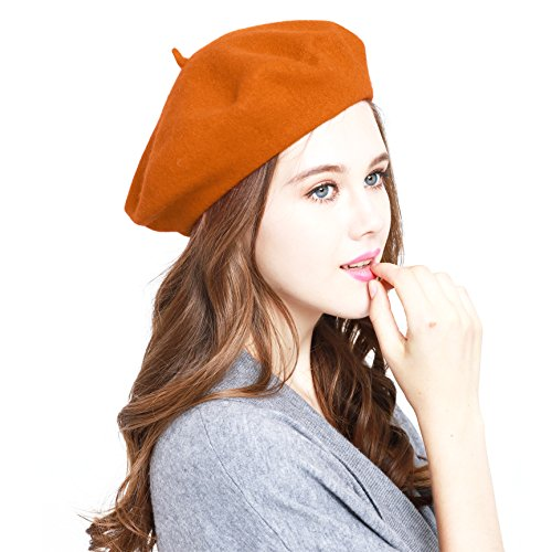 Classic WW004 Winter 100% Wool Warm French Art Basque Beret Tam Beanie Hat Cap (Orange)