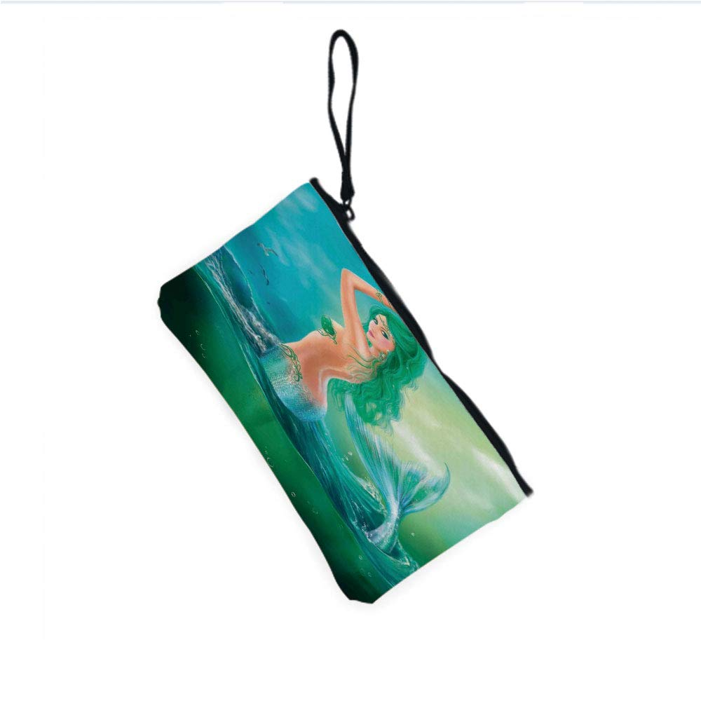 Canvas Coin Purse Zipper Coin Holder Mini Wallet Bags Cosmetic Makeup Bags,Waves Tail Sea Creatures Dramatic Sky Dark