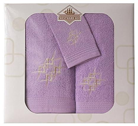 Toalla de 3 Piezas con Bordado de Diamantes, algodón Peinado, Morado, 48 x 10 x 42 cm: Amazon.es: Hogar