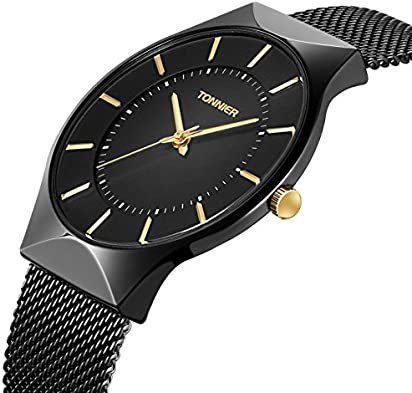 Tonnier Mens Watch Black&Golden Stainless Steel Ultrathin Mesh Strap Watch for Men