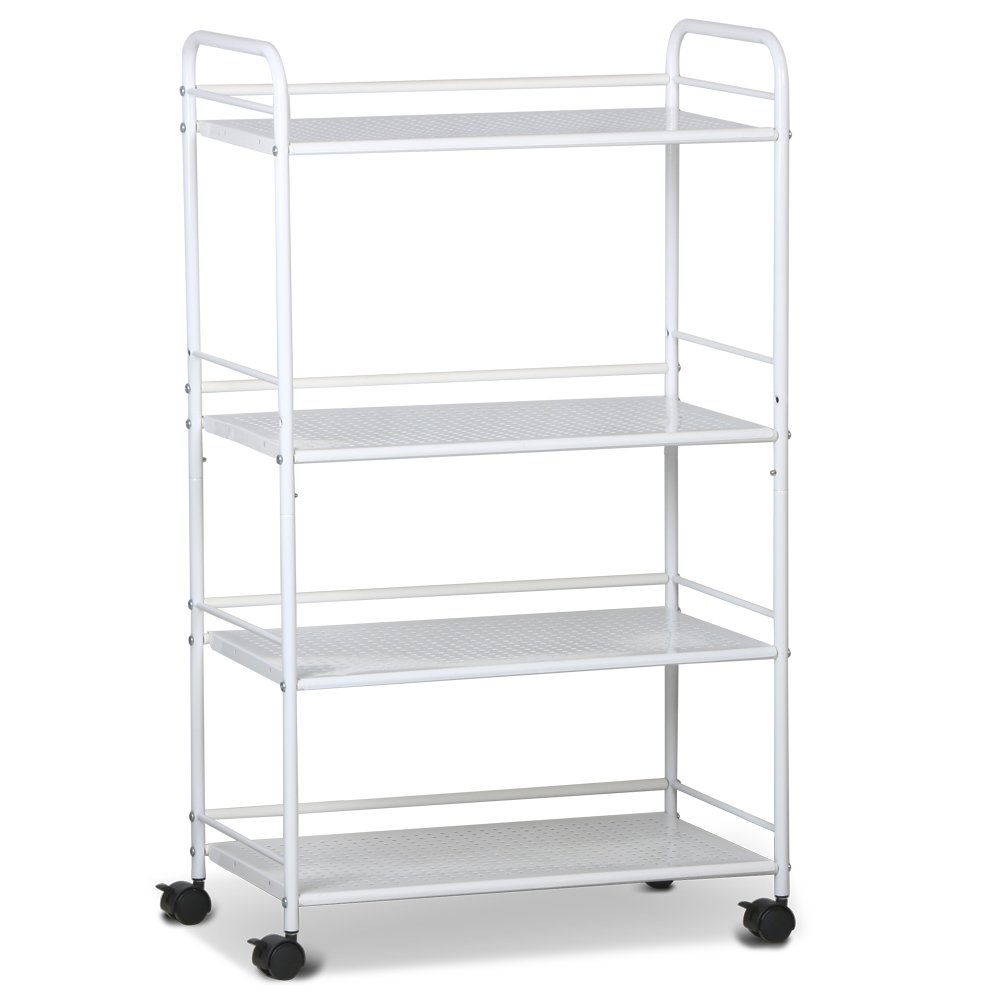 tinkertonk 4 Shelf Large Beauty Salon Trolley Cart Spa Storage Tray Therapy Dentist Hairdresser Treatments, White TT-1293