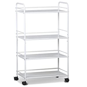 tinkertonk 4 Shelf Large Beauty Salon Trolley Cart Spa Storage Tray Therapy Dentist Hairdresser Treatments, White