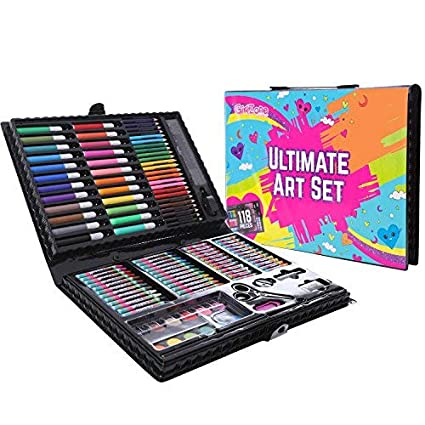 Amazon Com Girlzone 118 Piece Art Set With Carry Case Great
