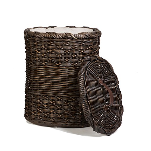 - The Basket Lady Oval Wicker Laundry Hamper | Clothes Hamper, Large, Antique Walnut Brown